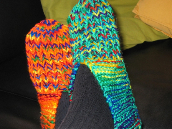 Orange and green slippers