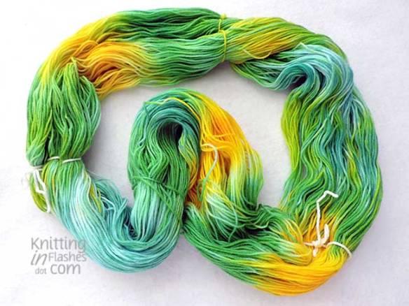 blue, green, yellow hand-painted yarn