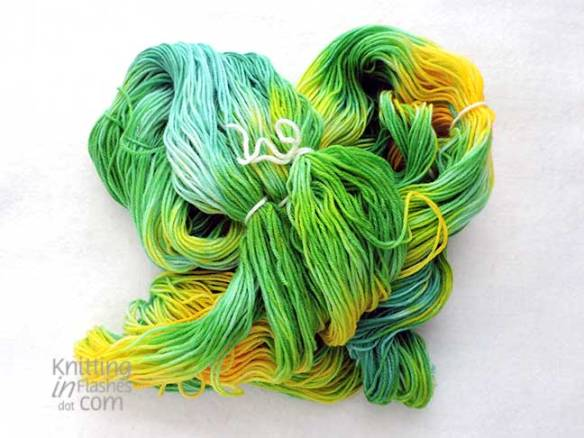 blue, green, yellow hand-painted yarn
